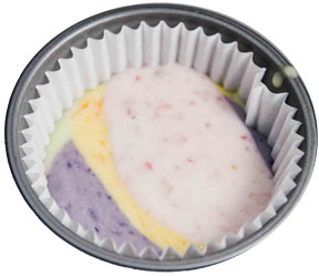 PLC batter in cup Rainbow Cupcakes   A guest post from peaslovecarrots