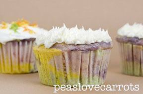 PLC plated.logo  Rainbow Cupcakes   A guest post from peaslovecarrots