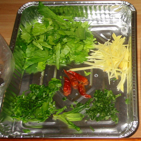 soe celery leaveas ginger chili citrus leaves mint Burmese Orange Salad   Sicilian Serendipity